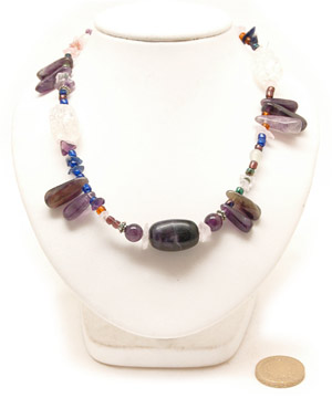 Dark Amethyst Peasant Necklace. Amethyst and Assorted Beads, 18in