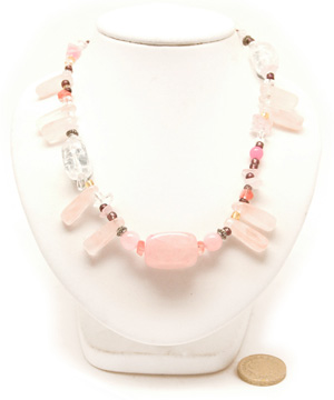 Rose Quartz Peasant Necklace. Rose Quartz + Assorted Beads, 18in
