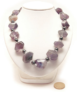 Amethyst Aztec Necklace. Amethyst Gemstone and Hematite Beads 18in